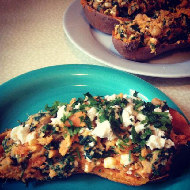 stuffed sweet potato spinach feta